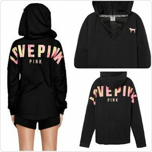 VS PINK Strappy Front Varsity Hoodie Black Small
